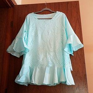 Tops - Seafoam/Mint Colored Lace Top